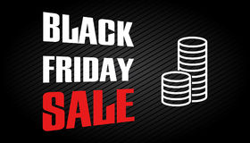 Black friday sale design template. Discount text vector illustra Royalty Free Stock Photo