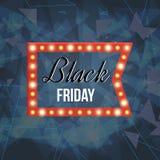 Black friday sale design template. Retro light frame. Stock Photography