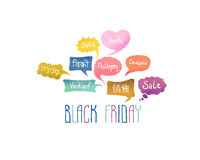 Black friday. Sale on different languages Stock Photo