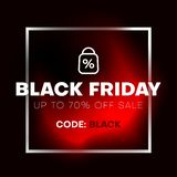 Black friday sale discount banner with frame and red liquid shape. vector illustration