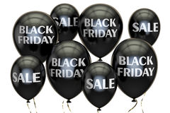 Black Friday. Sale and discount concept with balloons. 3D render. Black Friday. Sale and discount concept with  balloons. 3D rendering on white background Royalty Free Stock Photo
