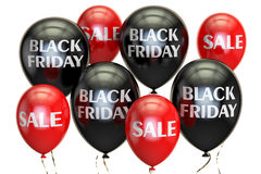 Black Friday, sale and discount concept with balloons. 3D render. Black Friday, sale and discount concept with  balloons. 3D rendering on white background Stock Photography