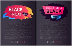 Black Friday Sale -25 Off Vector Illustration. Black Friday sale, discount -25 off, websites collection with images and text, buttons that say read more and buy Stock Photo