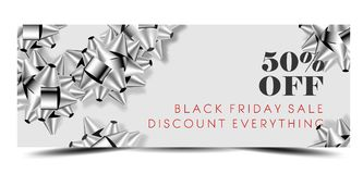 Black Friday sale discount promo offer banner or shop 50 percent price off advertising flyer and coupon. Royalty Free Stock Images