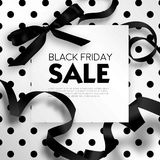 Black Friday sale discount promo offer poster or advertising flyer and coupon. Vector elegant design of piece of paper and realistic black gift bow tie ribbon Royalty Free Stock Photos