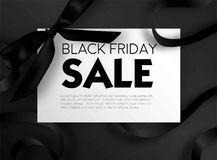 Black Friday sale discount promo offer poster or advertising flyer and coupon. Royalty Free Stock Images