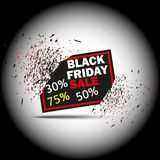 Black Friday Sale with discount 30 50 75 . Vector illustration. Banner with the effect of the explosion, exploding plate. Eps stock illustration