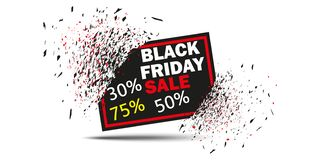 Black Friday Sale with discount 30 50 75 . Vector. Banner with the effect of the explosion, exploding plate. Isolated. Black Friday Sale with discount 30 50 75 stock illustration