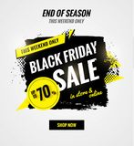 Black friday sale dynamic banner. Sale poster with brush strokes.    Vector illustration Stock Images
