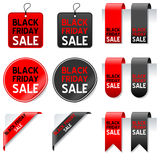 Black Friday Sale Elements Set. Collection of Black Friday sale elements: gift tags, labels, bookmarks, stickers and corner ribbons in two different colors (red Stock Photo