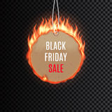 Black friday sale fire label vector illustration Royalty Free Stock Photo