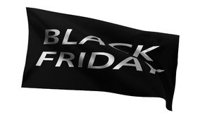 Black friday sale flag. 3d illustration. Black friday flag, 3d illustration. isolated on white background. suitable for discount, sale and marketing themes Stock Image