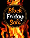 Black Friday Sale on flaming background. Black Friday Sale sticker on background with flames Royalty Free Stock Photography