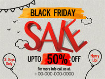 Black Friday Sale Flyer, Poster or Banner. Stock Photos