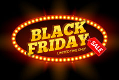 Black Friday SALE frame design template. Black friday discount retro banner with neon sign light frame.  Royalty Free Stock Photos