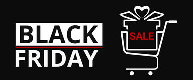 Black friday sale with gift box on shopping cart. Banner design. Royalty Free Stock Images