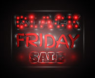 Black Friday Sale glowing text. With red and white lights on a dark background. Vector illustration Royalty Free Stock Image