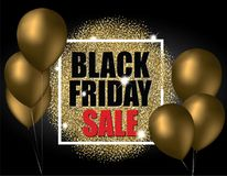 Black friday sale with gold balloons and gold glitter effect. Vector illustration. stock illustration
