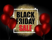 Black friday sale with gold balloons and red glitter effect. Vector illustration. royalty free illustration