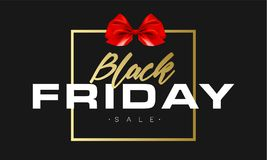 Black Friday Sale Gold Banner Luxury Black Background and Red Ribbon Bow with Grainy Sparkle Confetti. Advertising. Golden Poster Template for black friday Stock Image