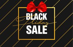 Black Friday Sale Gold Banner Luxury Black Background and Red Ribbon Bow with Grainy Sparkle Confetti. Advertising. Golden Poster Template for black friday Stock Photo