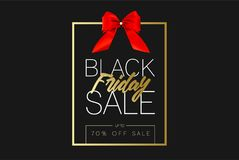 Black Friday Sale Gold Banner Luxury Black Background and Red Ribbon Bow with Grainy Sparkle Confetti. Advertising. Golden Poster Template for black friday Royalty Free Stock Photo