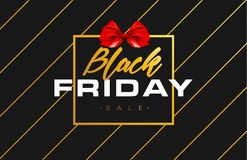 Black Friday Sale Gold Banner Luxury Black Background and Red Ribbon Bow with Grainy Sparkle Confetti. Advertising. Golden Poster Template for black friday Royalty Free Stock Photos