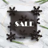 Black Friday Sale gold geometric frames, Eucalyptus leaves, foliage on marble table, top view. Black Friday Sale Discount banner with gold geometric frames royalty free illustration