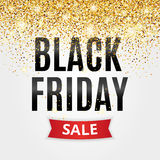 Black Friday sale. Gold glitter background. Black shine gold sparkles background.  logo for banner, web, header and flyer, design. Christmas and new year Royalty Free Stock Photography