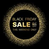 Black friday sale discount gold glitter background. Black friday sale gold glitter background vector. Up to 50 percent off discount, this weekend only text royalty free illustration