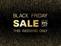Black friday sale discount gold glitter background. Black friday sale gold glitter background vector. Up to 50 percent off discount, this weekend only text stock illustration