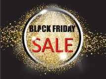Black friday sale with gold glitter stars and circle. Vector illustration. Eps 10 Stock Image