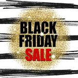 Black friday sale on gold glitter texture with  black lines. Vector illustration. Eps 10 Royalty Free Stock Photography