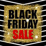 Black friday sale on gold glitter texture with  black lines. Vector illustration. Eps 10 Stock Photo