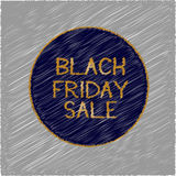 Black Friday sale in golden letters in dark blue circle on gray background Stock Images