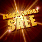 Black friday sale in golden letters over star Royalty Free Stock Photo