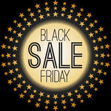 Black Friday Sale graphic with golden stars Royalty Free Stock Photos