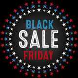 Black Friday Sale graphic with white, blue and red stars Stock Image