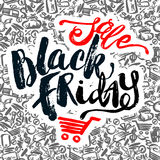 Black Friday sale hand lettering banner. Royalty Free Stock Photo