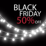 Black Friday Sale handmade lettering, calligraphy with garland and dark background for logo, banners, labels, badges Royalty Free Stock Image