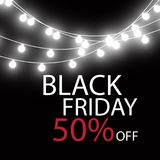 Black Friday Sale handmade lettering, calligraphy with garland and dark background for logo, banners, labels, badges Stock Image