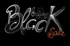 Black Friday Sale handmade lettering, calligraphy made wit fire, grunge texture and light background for logo, banners, labels, ba. Dges, prints, posters, web Royalty Free Stock Photos