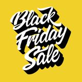 Black friday sale. Handwritten modern brush lettering 3d of Black Friday sale on yellow background. Vector illustration Stock Images