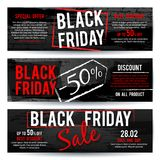 Black Friday sale horizontal advertising vector banners with black and red distressed brush texture vector illustration