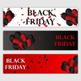 Black Friday Sale Horizontal Banners Set. Flying Glossy Balloons on White and Red Background. Falling Confetti and royalty free illustration