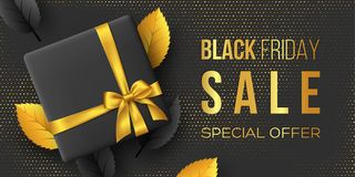 Black Friday sale horizontal poster or banner. royalty free illustration