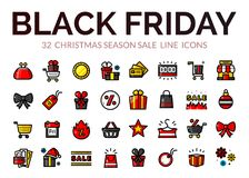 Black Friday sale icons, vector illustration Stock Image