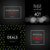 Black Friday Sale illustrations for social media banners, ads, newsletters, posters, flyers, websites. Set of typographic vector designs Royalty Free Stock Photography