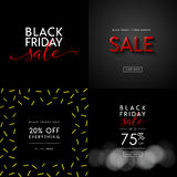 Black Friday Sale illustrations for social media banners, ads, newsletters, posters, flyers, websites. Set of typographic vector designs Stock Photo