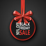 Black Friday sale inscription design template. Black Friday banner with bow ribbon. Discount 90 special off design Stock Photos